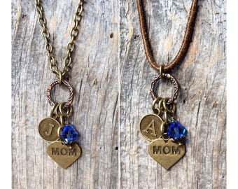 Gift for Mom, Mother's Day gift, new Mom push present, sapphire necklace, personalized jewelry, initial, September birthstone, new baby gift