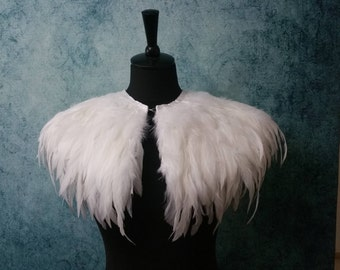 White wedding feather shrug, bridal cape, feathered capulet