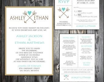 Arrow Wedding Invitations, RSVP's, Reception Insert w/ FREE Calendar Stickers - Printing included