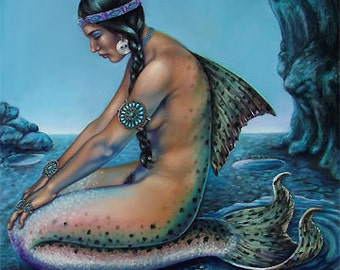 Limited Edtion Vintage Mermaid  Turquoise native american Print Giclee  Artwork  Art Signed