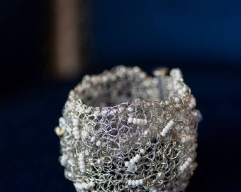 Cuff wedding silver lace, special occasion, couture style