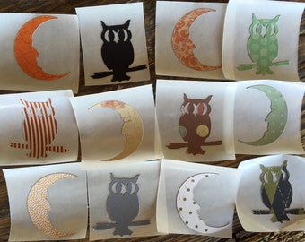 Halloween Owl and Moon Stickers