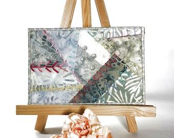 Gray Hand Embroidered Postcard, One of a Kind Crazy Quilt Postcard, Batik Fabric Postcard, Fibre Art Postcard, Textile Art Postcard