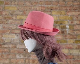 pink wool fedora / short brim fedora / womens wool hat / womens fedora / pastel pink / pastel wool hat / wool fedora / womens pink hat