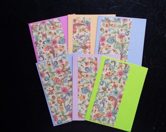 Set of 6 Pastel and Bright Florentine Design Greeting Cards Blank with Envelopes