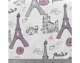 2 yards of glitter eiffel tower Paris fabric