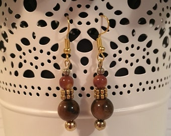 Tigers Eye Beaded Dangle Earrings with Gold Accents / Gift under 10 / Minimalist