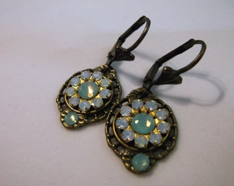 Opal And Pacific Opal Multi Cluster Swarovski Crystal And Brass Filigree Earrings