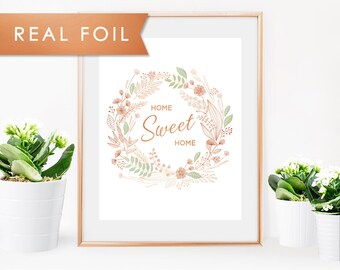 Home Sweet Home Floral Wreath- Real Copper Foil Wall Art-5x7 8x10 11x14