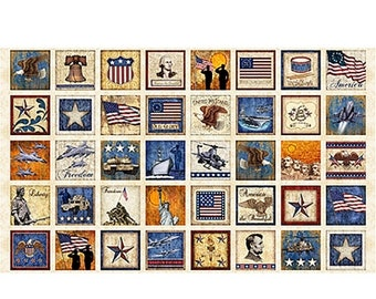 20 % off thru 5/31 HOME of The BRAVE Fabric Panel Quilting Treasures- SQUARES on parchment  tan cotton  23 by 44 in~patriotic americana old
