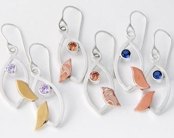 Mixed metal jewelry mixed metal earrings Jeweled Birds Earrings