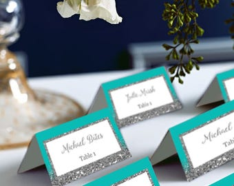 Turquoise Blue Wedding Place Cards, Tented Place Cards Turquoise and Silver Glitter, Mint, DIY Place Card Printable, code-048-2