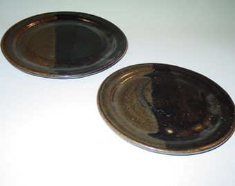 "Pair of Handthrown Stoneware Plates, Approx. 9"" & 7"", Black and Brown"