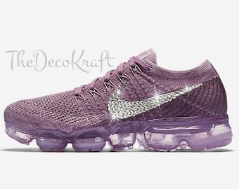 Womens Nike Air VaporMax Flyknit Violet, Plum, Dust Custom Bling Crystal  Swarovski Sneakers,