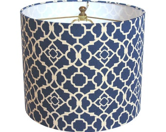 Lamp Shade Lampshade Lovely Lattice by Waverly Lapis Blue Made to Order