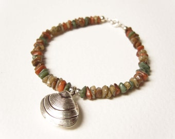 Earth Tone Bracelet, Silver Shell Charm Bracelet, Earthy Bracelet, OOAK Gemstone Jewelry UK