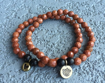 Farm Sanctuary Bracelet - Goldstone w/ Brass Charm