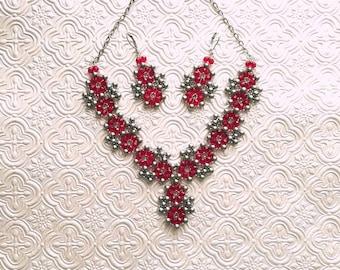 Woven Gray and Siam Renaissance Jewelry Set / Necklace Set / Siam / Red / Gray / Medieval / Renaissance / Cosplay Jewelry / Wedding / Bridal