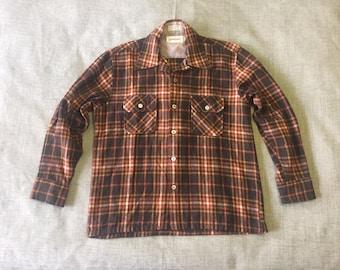 Vintage Flannel Brown Orange Plaid Mervyn's over shirt size medium m