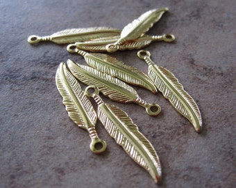 8 Drop, gold-plated brass, 18x4mm feather - JD157