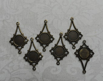 """Vintage gold or silver plate brass stamped earrings,7/8th""""x1/2"""",6pcs-ERG39"""