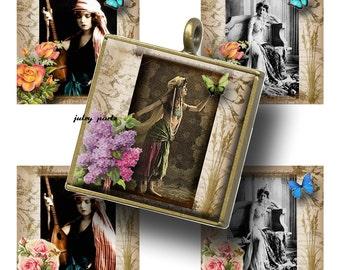 GYPSY ROSE 1x1, Printable Digital Images, Cards, Gift Tags, Scrabble Tiles, Boho Gypsy, Gypsy, Vintage Gypsy