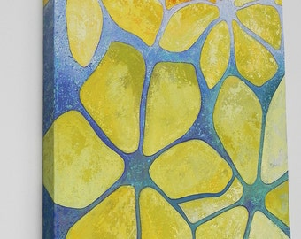 Original Acrylic Painting, Canvas Art  - Yellow Flowers