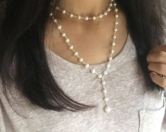 Pearl Rosary chain necklace, rosary style necklace, pearl choker, freshwater pearl, layered necklace, Pearl Rosary, Rosary chain, choker