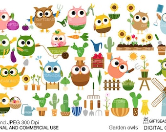 Gardener owls digital clip art for Personal and Commercial use - INSTANT DOWNLOAD