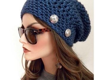 Réchauffer la Tuque, au Crochet, bonnet en tricot, bonnet, chapeau Boho Chic, chapeau d'hiver, bonnet, bonnet, accessoires, tuque bleu femme,