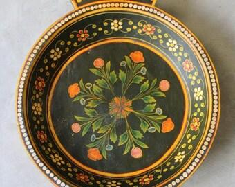 Wooden Folk Art Floral Bowl