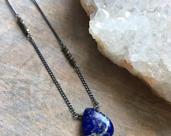 Lapis Lazuli and Pyrite Necklace, Smooth Lapis Lazuli Pendant, Staggered Pyrite Beaded Necklace, Asymmetrical Gemstone Jewelry, Boho Jewelry