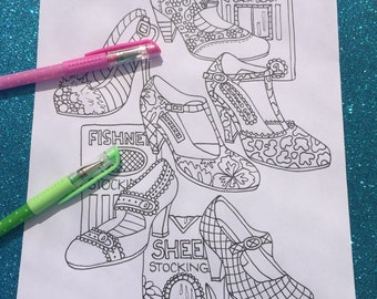 Shoes & Stockings Printable Coloring Page