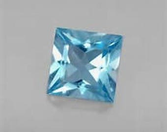 10 Pieces Blue Topaz  faceted square  Shape   Loose Gemstone