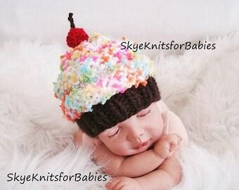 Newborn Photo Prop, Newborn Hat, Knit Baby Cupcake Hat, Knit Baby Hat, Newborn Cupcake Hat, Baby Photography, Newborn Photo Prop, Boy, Girl