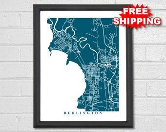 Burlington Map Art - Map Print - Vermont - Hometown - Custom Map - Personalized - City Map - Home Map - Birthday Gift - Housewarming