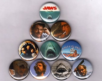 """Jaws 1"""" Pins / Buttons  (print poster quint shark vintage poster tattoo badges horror movie)"""