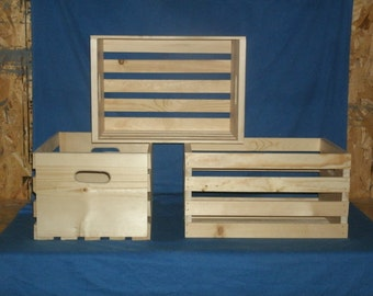 """Rustic 18"""" wooden storage crate,wood crate, wooden box, wooden crate, storage crate, UNFINISHED"""