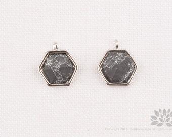 P772-R-BTQ// Gold Plated 8mm BLACK TURQUOISE Hexagon Spear Gemstone Pendant, 2 pcs