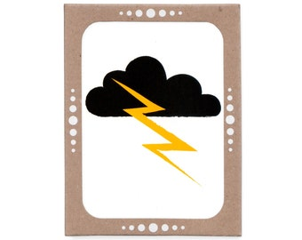 Thunder and Lightning Cloud -- Screenprinted Set of Six Cards