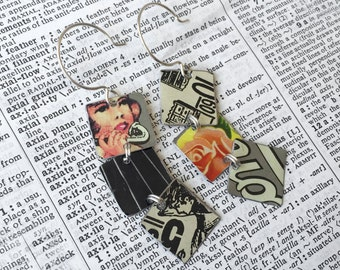 Upcycled mix and match tin dangle earrings made from various vintage tins