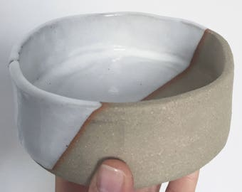 White stoneware ceramic breakfast soup bowl