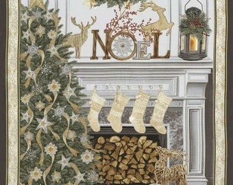 "Holiday 24"" x 44"" Christmas Panel with Silver Metallic CM5165-Cream from Timeless Treasures by the panel"
