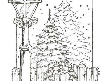 Adult Coloring Page Printable Christmas Scene Lamp Post Digital Download