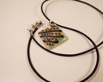 "Handcrafted Ceramic Necklace, Porcelain, 18"""