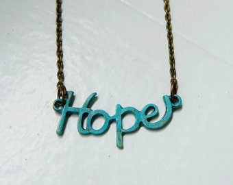 Hope Necklace. Verdigris Hope Necklace. Verdigris. Patina. Turquoise Necklace. Bridal Necklace. Vintage Inspired. Inspirational Jewelry.