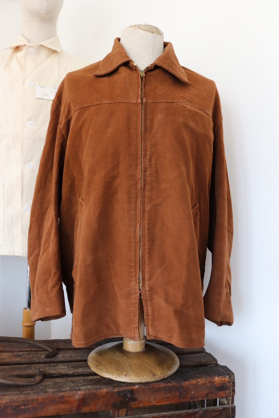 "Vintage 1950s 50s french brown moleskin zip up jacket workwear work chore 52"" chest"