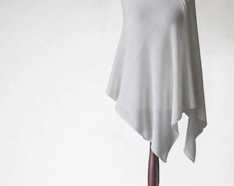 Wedding poncho, wedding cape, bridal poncho, knit poncho, white scarf, white poncho, womens poncho, knit cape, knit scarf, bridal cape
