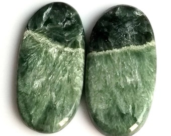 Seraphinite Oval Smooth Cabochon, Natural Seraphinite Designer Cabochon Pair, 34x15 MM, 29 Cts, Loose Gemstone Pair.