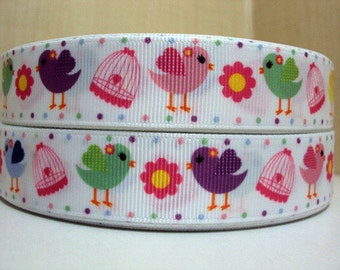 7/8 inch Cute Birds and Birdcages Birdies - Printed Grosgrain Ribbon for Hair Bow